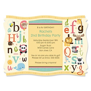 A is for Alphabet - Personalized Birthday Party Invitations - Set of 12