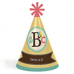 A is for Alphabet - Personalized Cone ABC Happy Birthday Party Hats for Kids and Adults - Set of 8 (Standard Size)