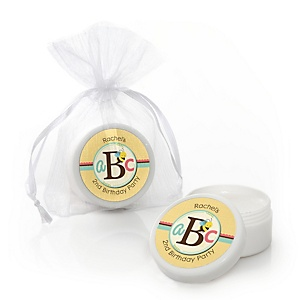 A is for Alphabet - Personalized Birthday Party Lip Balm Favors - Set of 12