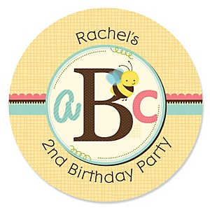 A is for Alphabet - Personalized Birthday Party Sticker Labels - 24 ct