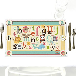 A is for Alphabet - Party Table Decorations - Baby Shower or Birthday Party Placemats - Set of 12