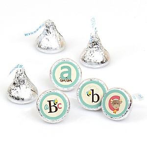 A is for Alphabet - Round Candy Labels ABC Party Favors - Fits Hershey's Kisses - 108 ct