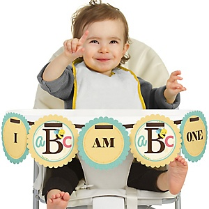 A is for Alphabet 1st Birthday - I am One - ABC First Birthday High Chair Banner