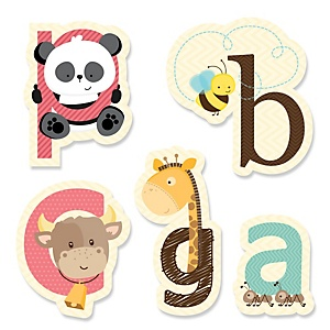 A is for Alphabet - DIY Shaped ABC Party Paper Cut-Outs - 24 ct