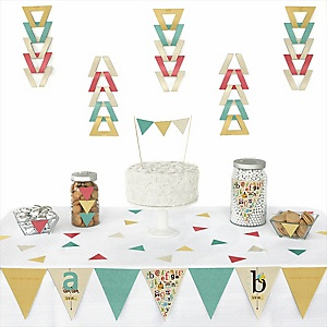 A is for Alphabet -  Triangle ABC Party Decoration Kit - 72 Piece