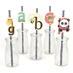 A is for Alphabet - Paper Straw Decor - ABC Baby Shower or Birthday Party Striped Decorative Straws - Set of 24