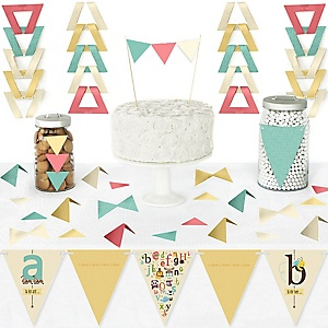 A is for Alphabet - DIY Pennant Banner Decorations - ABC Baby Shower or Birthday Party Triangle Kit - 99 Pieces