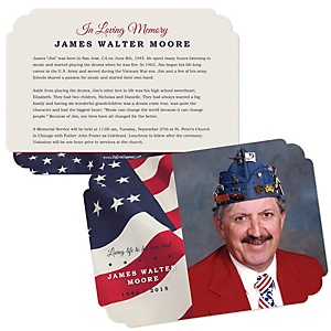 American Flag - Shaped Memorial Photo Card