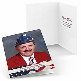 American Flag - Folding Sympathy Photo Thank You Notes
