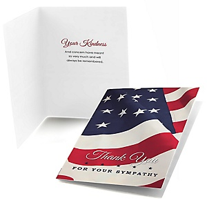 American Flag - Folding Sympathy Thank You Notes - 24 ct
