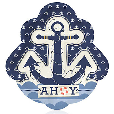 Ahoy - Nautical - Birthday Party Dinner Plates - 8 ct | BigDotOfHappiness.com  sc 1 st  Big Dot of Happiness & Ahoy - Nautical - Birthday Party Dinner Plates - 8 ct ...