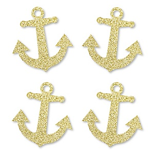 Gold Glitter Anchor - No-Mess Real Gold Glitter Cut-Outs - Nautical Party Confetti - Set of 24