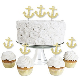 Gold Glitter Anchor - No-Mess Real Gold Glitter Dessert Cupcake Toppers - Nautical Party Clear Treat Picks - Set of 24