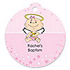 Angel Baby Girl - Round Personalized Baptism Tags - 20 ct