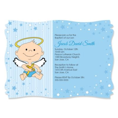 Angel Baby Boy Personalized Baptism Invitations