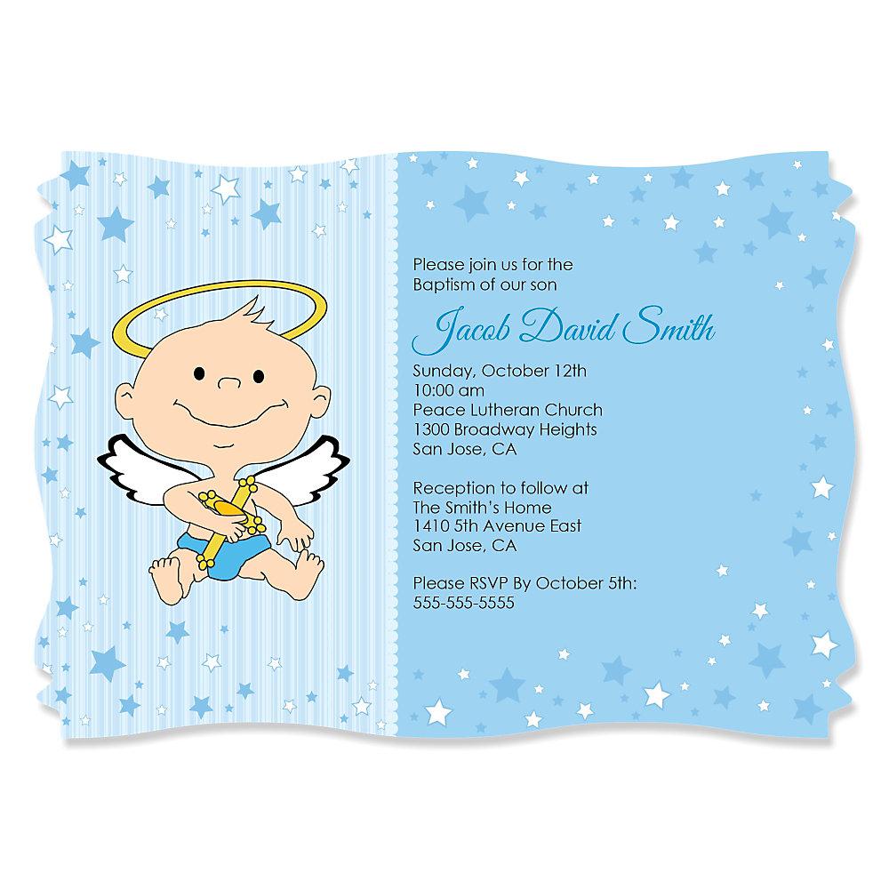 Beautiful Angel Baby Boy - Personalized Baptism Invitations  MP03