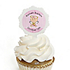 Angel Baby Girl - Personalized Baptism Cupcake Picks and Sticker Kit - 12 ct