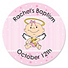 Angel Baby Girl - Personalized Baptism Sticker Labels - 24 ct