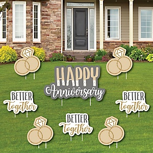 Happy Anniversary - Yard Sign and Outdoor Lawn Decorations - Gold and Silver Wedding Anniversary Yard Signs - Set of 8
