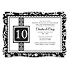 Modern Floral Black - White - Any Year - Personalized Wedding Anniversary Invitations