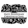 Modern Floral Black - White - Any Year - Personalized Wedding Anniversary Squiggle Sticker Labels - 16 ct