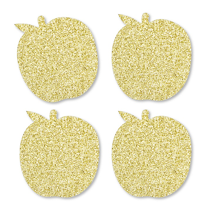 Gold Glitter Apple - No-Mess Real Gold Glitter Cut-Outs - Jewish New Year Confetti - Set of 24