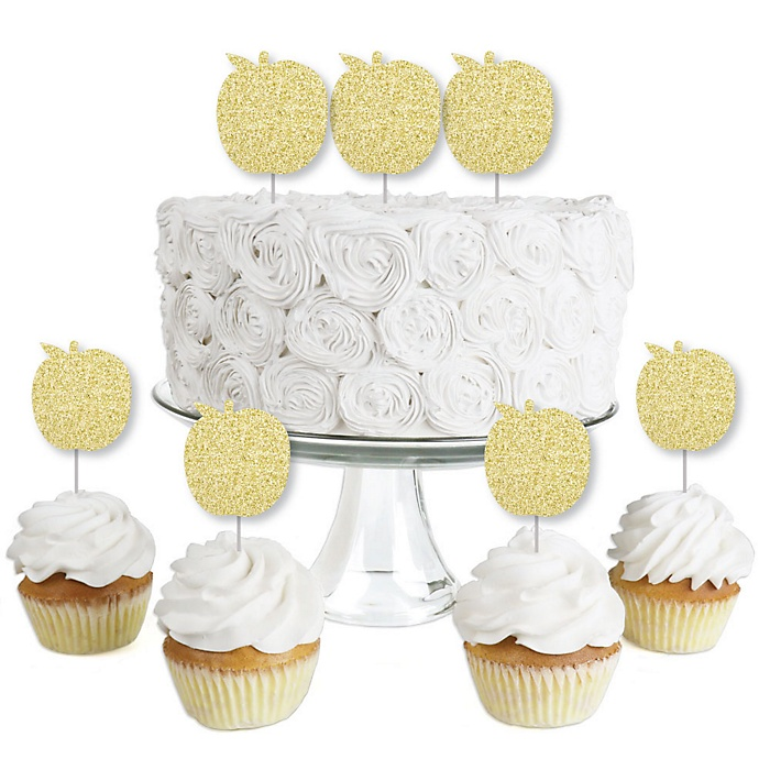 Gold Glitter Apple - No-Mess Real Gold Glitter Dessert Cupcake Toppers - Jewish New Year Clear Treat Picks - Set of 24