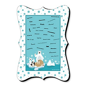 Arctic Polar Animals - Winter - Unique Alternative Guest Book - Baby Shower or Birthday Party Signature Mat