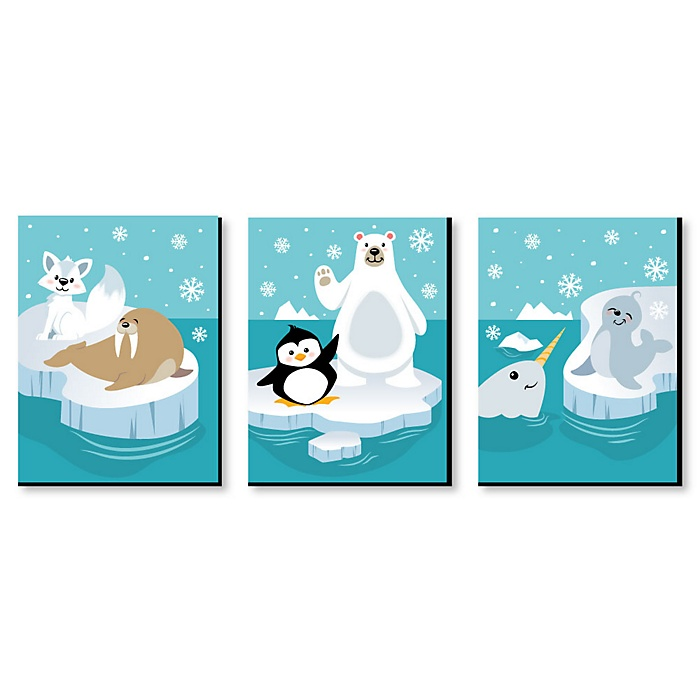 Arctic Polar Animals - Polar Bear, Seal, Penguin, Walrus, Narwhal and Arctic Fox Nursery Wall Art and Kids Room Decor - 7.5 x 10 inches - Set of 3 Prints