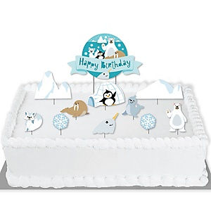 Arctic Polar Animals - Winter Birthday Party Cake Decorating Kit - Happy Birthday Cake Topper Set - 11 Pieces