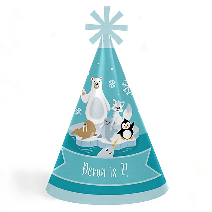 Arctic Polar Animals - Personalized Cone Happy Birthday Party Hats for Kids and Adults - Set of 8 (Standard Size)