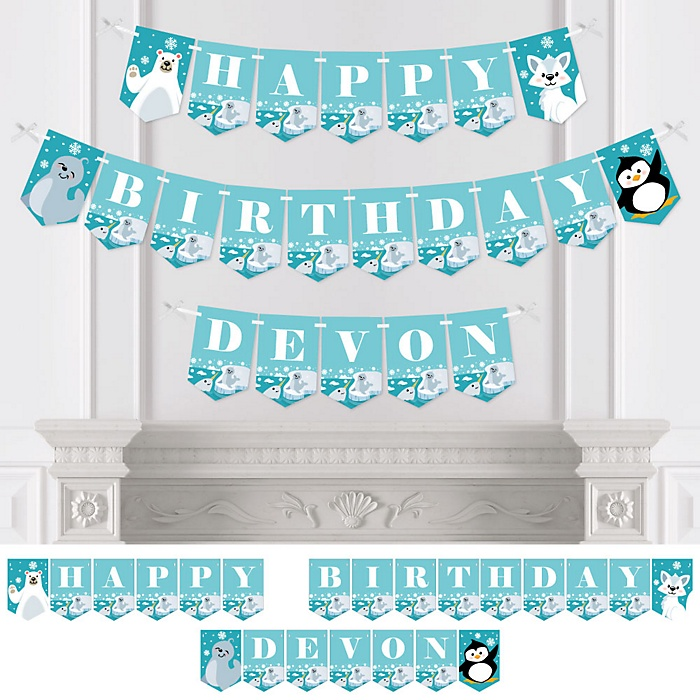 Arctic Polar Animals - Personalized Winter Birthday Party Bunting Banner and Decorations