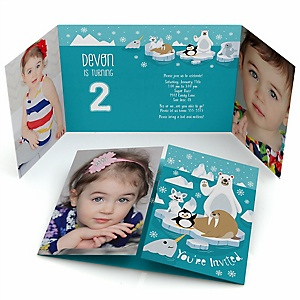 Arctic Polar Animals - Personalized Winter Birthday Party Photo Invitations - Set of 12