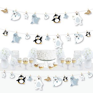 Arctic Polar Animals - Winter Baby Shower or Birthday Party DIY Decorations - Clothespin Garland Banner - 44 Pieces