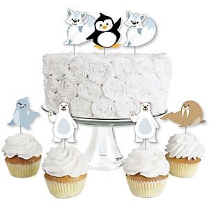 Arctic Polar Animals - Dessert Cupcake Toppers - Winter Baby Shower or Birthday Party Clear Treat Picks - Set of 24