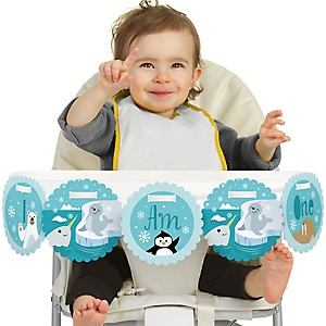 Arctic Polar Animals - Winter 1st Birthday - I am One - First Birthday High Chair Banner