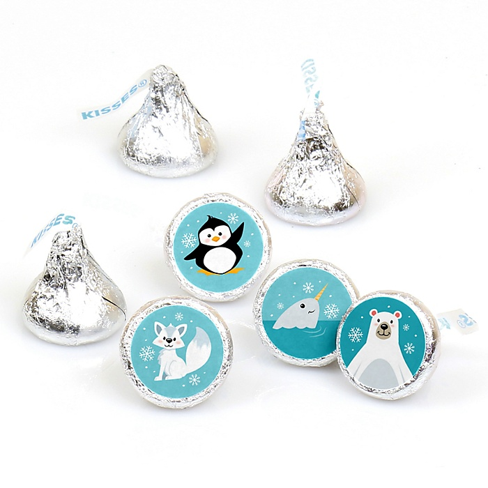 Arctic Polar Animals - Winter Baby Shower or Birthday Party Round Candy Sticker Favors - Labels Fit Hershey's Kisses - 108 ct