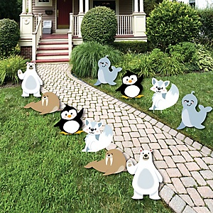 Arctic Polar Animals - Polar Bear, Seal, Penguin, Walrus and Arctic Fox Lawn Decorations - Outdoor Winter Baby Shower or Birthday Party Yard Decorations - 10 Piece