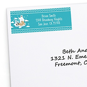 Arctic Polar Animals - Personalized Winter Baby Shower or Birthday Party Return Address Labels - 30 ct