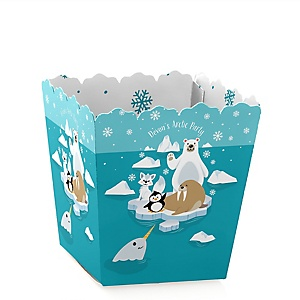 Arctic Polar Animals - Party Mini Favor Boxes - Personalized Winter Baby Shower or Birthday Party Treat Candy Boxes - Set of 12