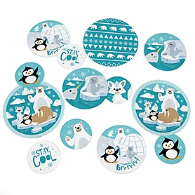 Arctic Polar Animals - Winter Baby Shower or Birthday Party Giant Circle Confetti - Party Decorations - Large Confetti 27 Count
