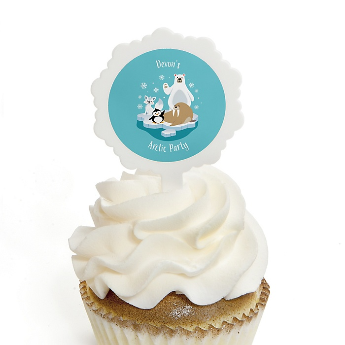 Arctic Polar Animals - Personalized Winter Baby Shower or Birthday Party Cupcake Picks and Sticker Kit - 12 ct