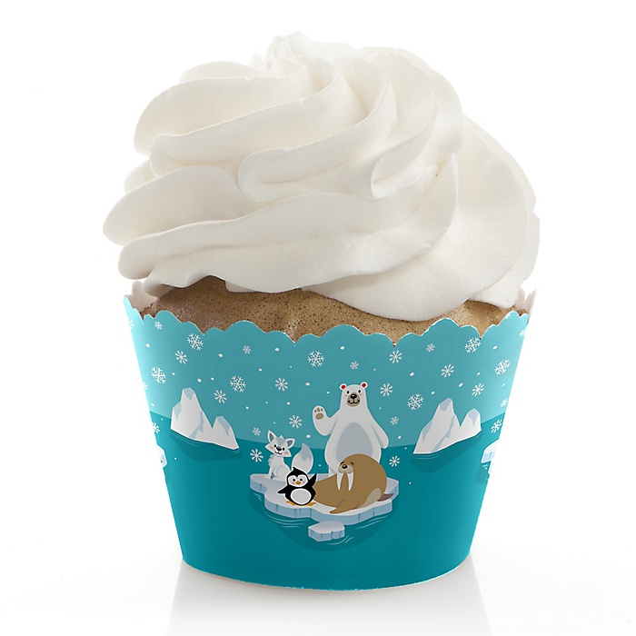 Arctic Polar Animals - Winter Baby Shower or Birthday Party Decorations - Party Cupcake Wrappers - Set of 12
