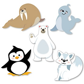 Arctic Polar Animals - DIY Shaped Winter Baby Shower or Birthday Party Cut-Outs - 24 ct