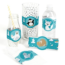Arctic Polar Animals - DIY Party Supplies - Winter Baby Shower or Birthday Party DIY Wrapper Favors and Decorations - Set of 15