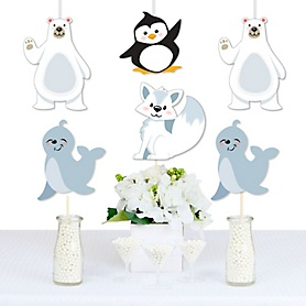 Arctic Polar Animals - Polar Bear, Seal, Penguin and Arctic Fox Decorations DIY Winter Baby Shower or Birthday Party Essentials - Set of 20