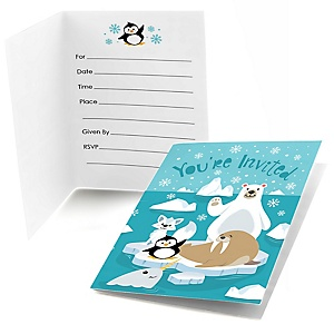 Arctic Polar Animals - Winter - Fill In  Baby Shower or Birthday Party Invitations  - 8 ct