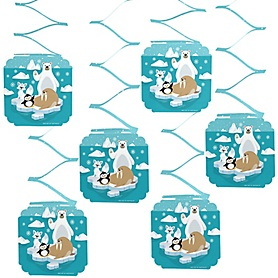Arctic Polar Animals - Winter Baby Shower or Birthday Party Hanging Decorations - 6 Count