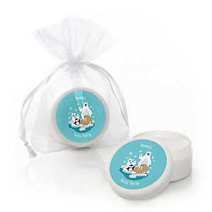 Arctic Polar Animals - Personalized Winter Baby Shower or Birthday Party Lip Balm Favors - Set of 12