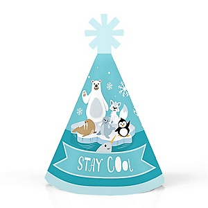 Arctic Polar Animals - Personalized Mini Cone Winter Baby Shower or Birthday Party Hats - Small Little Party Hats - Set of 10